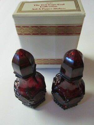 Vintage Avon The 1876 Cape Cod Ruby Red Glass Salt and Pepper Shaker w/ Box