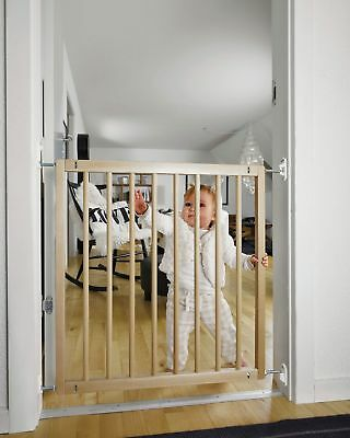 BabyDan Narrow 2 Way Opening Double Lock Beechwood Safety Gate.
