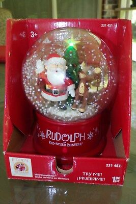 2014 Gemmy Rudolph Red Nose Reindeer 50 Years Snow Blowing Musical Globe NIB