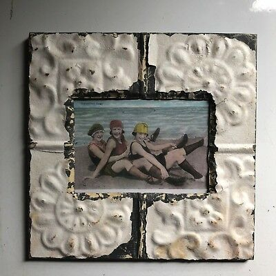 "1890's Antique Ceiling Tin Picture Frame 5"" x 7""  White Metal Reclaimed 429-18"