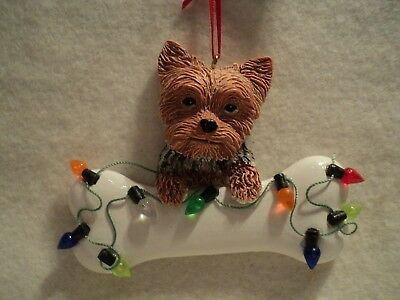 """KSA ~ """"YORKSHIRE TERRIER  WITH BONE"""" Ornament ~ For Personalization ~ NEW"""