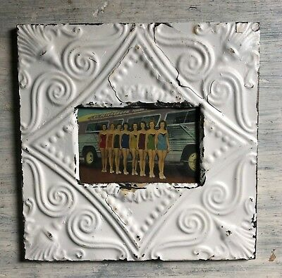 "Antique 1890's Ceiling Tin Picture Frame 4"" x 6"" Reclaimed Metal White 443-18"