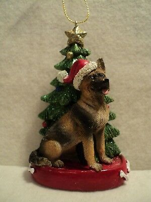 "KSA ""RESIN GERMAN SHEPHERD WITH CHRISTMAS TREE"" Ornament ~ New"