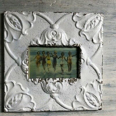 """Antique 1890's Ceiling Tin Picture Frame 4"""" x 6"""" Reclaimed Metal White 444-18"""