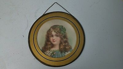 """Antique Flue Cover Victorian Litho Gorgeous Little Girl 7.75"""" Round Cover Plate"""