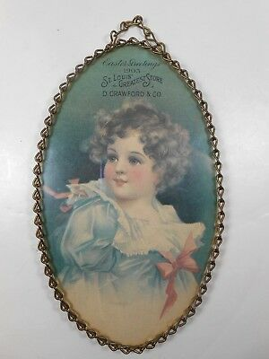 1903 St Louis print, chain frame, Easter Greetings D. Crawford  & Co advertising