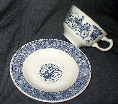 lot 6 antique cup saucer SETS Shakespeare Country Blue Leaves Homer Laughlin USA