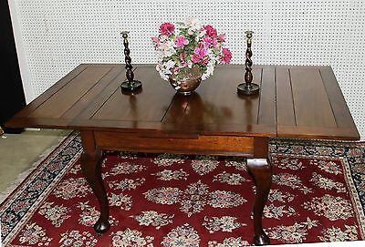 Beautiful Antique English Solid Walnut Queen Anne Draw Leaf Dining Table  C1890
