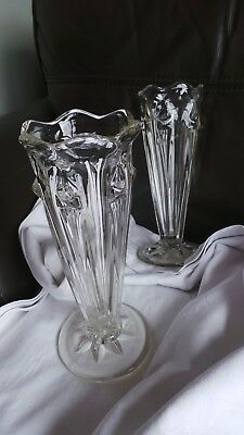 Pair of Vintage Art Deco 1930s Fluted pressed glass vases in Immaculate conditio