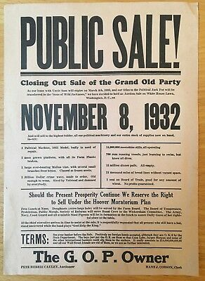 1932 FDR ROOSEVELT ELECTION BROADSIDE White House Sale Hoover GREAT DEPRESSION