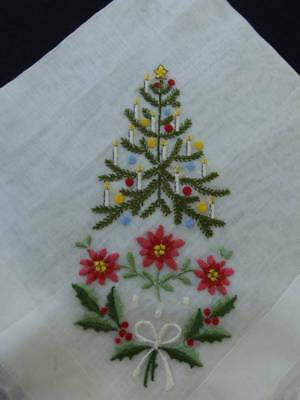 Lovely Vintage Christmas Hankie~Desco Hand Embroidered~Mint