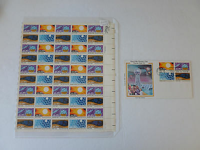 Sc#2006-09 Knoxville Worlds Fair Sheet of 50 Stamps MNH {FACE $10} +Colorano Fdc