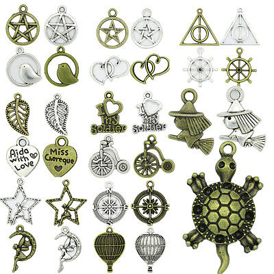 Antique Silver Bronze Charms Pendant For Bracelet Jewelry Finding Making DIY