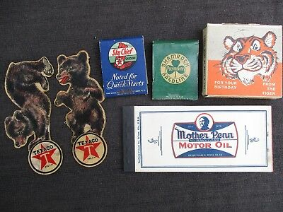 VINTAGE 1940s-1960s TEXACO, SHAMROCK, HUMBLE, MOTHER PENN MOTOR OIL GAS ITEMS