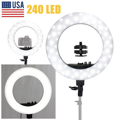 "LED SMD 18"" Ring Light Dimmable 5500K 240PCS LED Lighting Video Light Stand Kit"