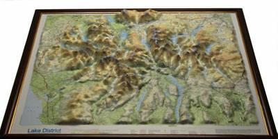 Lake District Raised Relief Map: Dark Wood  Framed (Raised Relief Maps Series) b