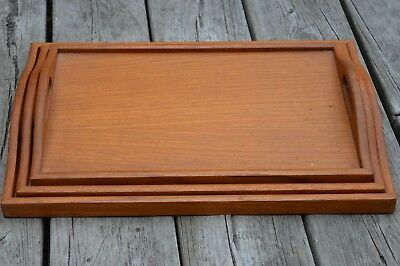 Vintage Teak Nesting Serving Trays Danish Modern Breakfast Nested Set of 3