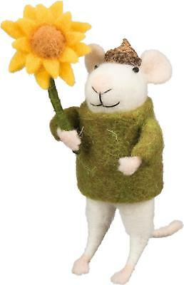 Primitive Country Folk-Art Susie Mouse With Sunflower