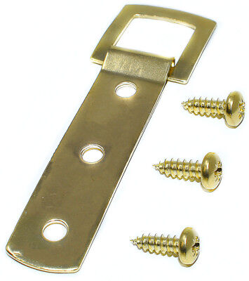 Brass Heavy Duty 3 Hole Picture Canvas Frame Strap Hanger Hanging Hook & Screws