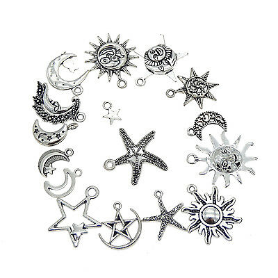 Mixed Bronze Charms Moon Star Sun Pendants for DIY Jewelry Making Accessaries /%Y
