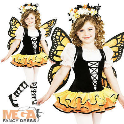 Monarch Butterfly Girls Fancy Dress Halloween Book Day Week Kids Childs Costume