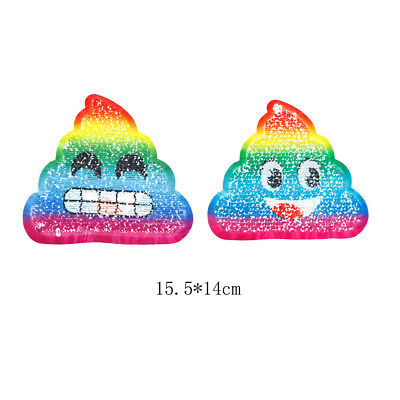 poop reversible change color sequins sew on patches for clothes diy patch HU