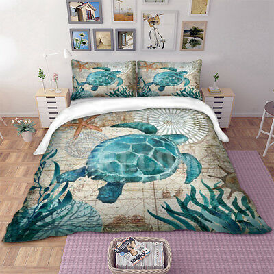 Turtle Quilt Duvet Doona Covers Set Single/Queen/King Size Bedding Pillowcases