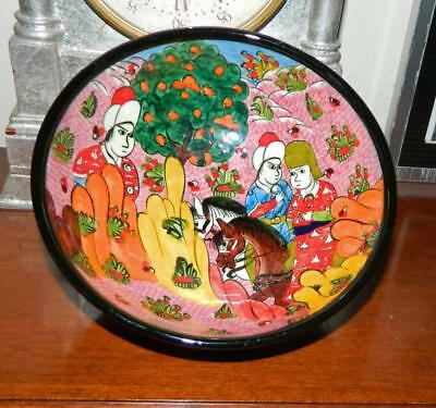 VINTAGE Beautiful Hand painted Ceramic Turkish Bowl  signed by artist