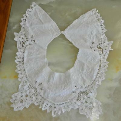 VINTAGE Victorian-Edwardian Embroidered Cotton Crochet Lace Shabby Collar