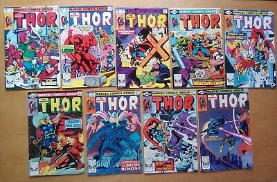9 ISSUES THOR #301,302,303,304,305,306.307,308,309 MARVEL COMICS 1980 1st PRINTS