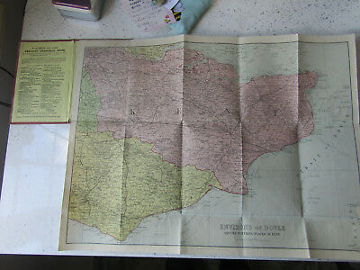 ANTIQUE W.H.SMITHS  Pocket Map Reduced ORDNANCE Map of KENT AND ENVIRONS VGC