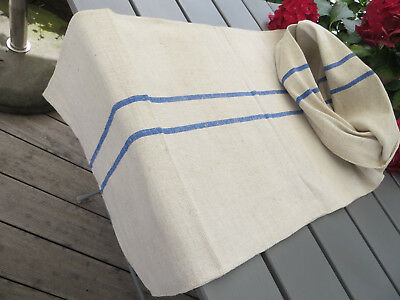 """Unused Grain Sack Feed Sack Pillow Cover Blue Stripes Handwoven Linen 19"""" by 47"""""""