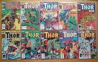 10 ISSUES THOR #340,341,342,343,344,345,346,347,348,349 MARVEL COMICS 1st PRINTS