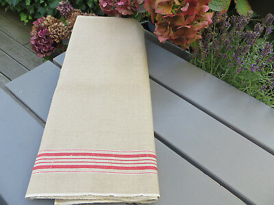 """Unused Linen Mangle Cloth Tablecloth  Runner Red Stripes 35 """" by 3.22 Yards"""