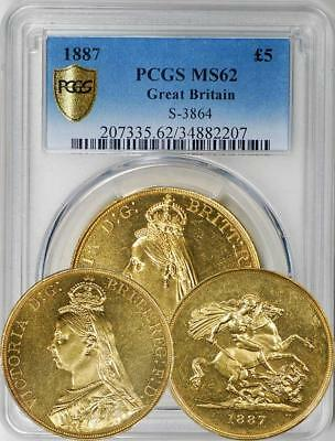 Great Britain 1887 5 Sovereign / 5 Pounds - PCGS MS-62