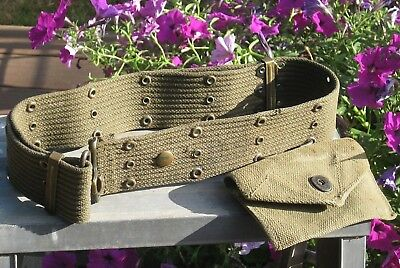 WWII Vintage Green Web BELT Brass Hardware Adjustable US Military Pouch W-9669