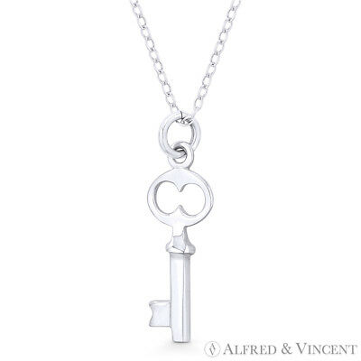 Skeleton Key-to-Heart Love Charm Pendant & Chain Necklace in 925 Sterling Silver