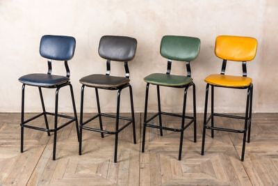 Bar Stools 4 Colours Cross Stitch Faux Leather Stools Matching Chairs Available