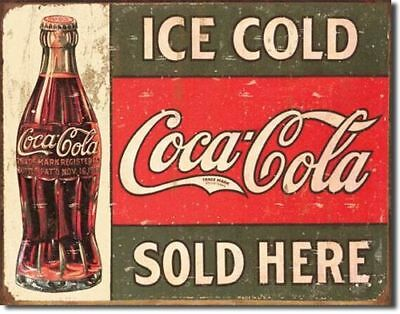Vintage Coke Ice Cold Blechschild Coca Cola Soft Drink Retro Reklame 30 x 40 cm