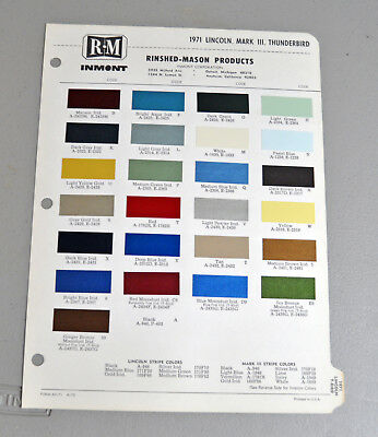 1971 LINCOLN MARK III THUNDERBIRD Paint chip COLOR catalog sheets RM LOT 123