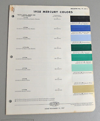 1958 MERCURY Paint COLOR chip catalog sheets Du Pont LOT 133 car AUTO