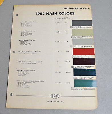 1952 NASH Paint COLOR chip catalog sheets DU PONT LOT 162 car