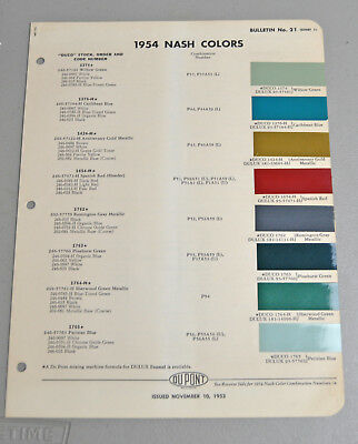 1954 NASH Paint COLOR chip catalog sheets DU PONT LOT 164 car