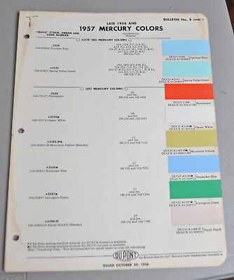 1957 MERCURY Paint COLOR chip catalog sheets Du Pont LOT 132 car AUTO