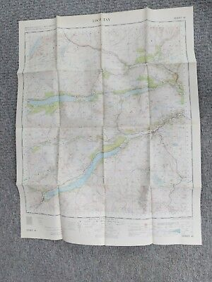 """ORDNANCE SURVEY MAP 1"""" to 1 mile 1956 LOCH TAY MAP 48"""
