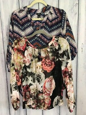 Lot Of Two Blouses Tunics Size Small Sheer Floral Lightweight Jennifer Lopez Rue