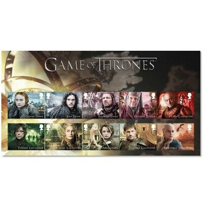 UK Game of Thrones Character Stamp Set with souvenir card MNH 2018