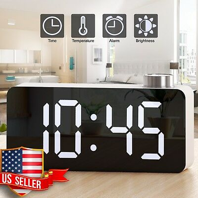 Alarm Clock Digital Clock Super Bright LED Display Temperature Brightness Dimmer
