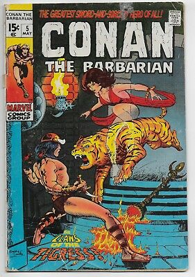 CONAN The Barbarian #5 May 1971 The Claws Of The Tigress 5.5 FN- Marvel