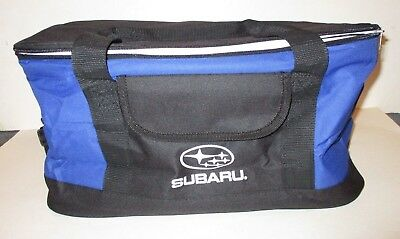 Subaru Auto Car Logo Blue & Black Insulated Cooler Bag Tote With Carry Strap